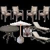 Combo Piscina com 2 Espreguiçadeiras, Mesa, 4 Cadeiras e Guarda-Sol