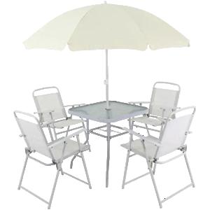 Conjunto Miami — Mesa com 4 Cadeiras e Guarda-Sol Branco Belfix